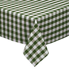 Sage & White Cotton Rich Checkered Kitchen Tablecloth: Gingham/Plaid Design