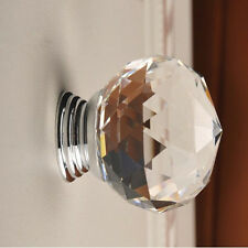 30mm Round Diamond Crystal Glass Door Drawer Knob Handle Cabinet Furniture New