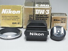 """""""NEAR MINT"""" Nikon DW-3 waist level finder & AS-4 & BR-2 for F3 From Tokyo"""