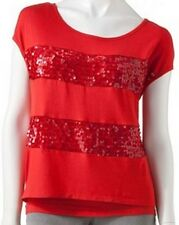 Heart & Soul Juniors Red Coral Striped Sequin Short Sleeve Cami Camisole Top