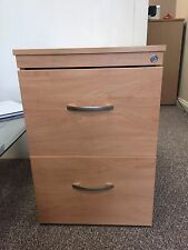 Two Drawer Lockable Wooden Filing Cabinet / Storage Drawers in Beech Laminate
