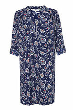 Yumi Womens Navy Floral Print Tunic Dress Knee Length Short Sleeve Ladies