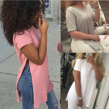 New Sexy Women Stylish Short Sleeve Top Blouse Casual Split Side Tops T-Shirt