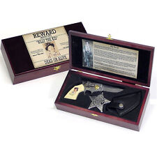 Billy The Kid Pistol Gun Knife Set w Sheath Old West Sheriff Badge Wanted Poster