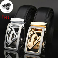 Mens Genuine Leather Belts Automatic Buckle Superman Belts Black Waist Strap