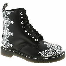 LADIES DR MARTENS PASCAL LACE SMOOTH BLACK & WHITE LEATHER 8 EYELET BOOTS