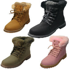 NEW LADIES LACE UP HIKING ANKLE BOOTS FUR LINED WINTER WARM SIZE 3-8 4 COLOURS!