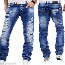 Fashion Men's Designed Straight Slim Fit Biker Jeans Pants Skinny Denim Trousers
