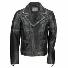 Mens Black Real Leather Biker Style Jacket Vintage Rubbed off Edges Zipped Retro