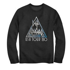 Def Leppard Mens New USA Tour 80 Sweatshirt Official Charcoal Heather SM - 2XL