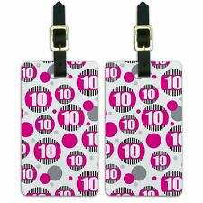 Luggage Suitcase Carry-On ID Tags Set of 2 Birthday Party Stripes Pink