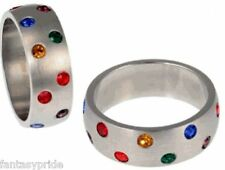 Gay Pride Staggered Multi Gem Rainbow Stainless Steel Ring - Size 5-13