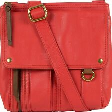 BRAND NEW FOSSIL MORGAN WOMEN'S LEATHER TRAVELER CROSSBODY BAGS RED/LEAD/SADDLE