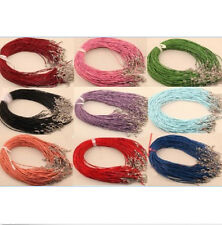 10pcs/100pcs Real Leather 2mm Cord Necklace with Lobster Clasp Charms