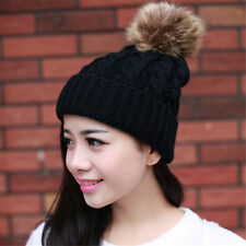 Winter Lady Women Big Wool Ball Thickening Knitted Crochet Slouch Hat Warm Cap