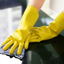 Yellow Waterproof Laundry Orange Gloves Protective Clean Dishwashing Rubber
