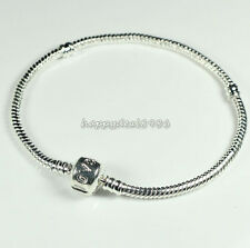 5/10pcs Silver Plated 3mm Love Snake Chain Fit European Beads Charm Bracelet