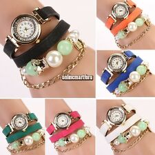 Women Girl Retro Quartz Charms Beads Bracelet Bracelet Wrist Watch Wristwatch