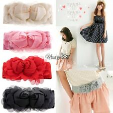 5colors New Double beautiful chiffon Rose Buckle Elastic Belt Waistband UTAR