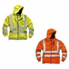 Edg=99 HI-VIS ORANGE YELLOW HOODED SWEATSHIRT WORK SITE VIZ HOODIE HOODY