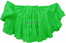 Bright Green 25 Yard Skirt 4 Tiered Tribal Gypsy Cotton Skirt Belly Dance ATS