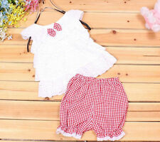 1SET T-shirt Kids Outfit Clothes Tops+Short Trousers Pants Baby Toddler Girls