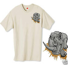 Personalized Embroidered RHINO RHINOCEROS Tee Shirt ~ Choose From 9 shirt colors