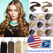 "18"" Loop Micro Ring Beads Tipped Brazilian Remy Human Hair Extensions USA Stock"