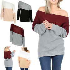 Womens Off Shoulder Knitted Casual Sweater Cardigan Pullover Jumper Top Knitwear