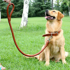 "Black Brown Braided Real Leather Dog Collar&Leash Set Neck Size 14""-24"""