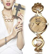 Luxury Gold Steel Quartz Analog Women Hollow Bracelet Bangle Watch Watches O3D6