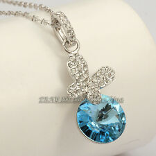 A1-P341 Fashion Butterfly Simulated Sapphire Necklace Pendant 18KGP CZ Crystal