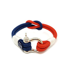 Blue and Red Handmade Square Knot Nautical Bracelet by Bran Marion