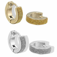 1Pair Men Women Stainless Steel Hoop Huggies Ear Stud Round Earrings Gothic Cool