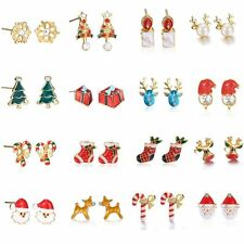 Christmas Xmas Women Gold Plated Earrings Ear Pierced Stud Fashion Jewelry Gift