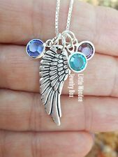 925 Sterling Silver Angel Wing Charm & Swarovski Birthstone Charms Necklace Gift