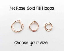 Hoop Earrings 14K Rose Gold Filled. Handcrafted Handmade Sleeper Huggies