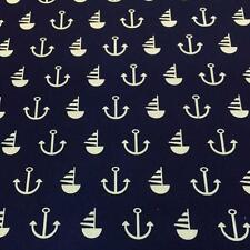 "Nautical NAVY with WHITE printed poly cotton print 115cm 45"" wide poly cotton"