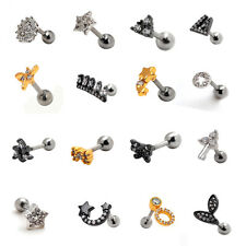 1pcs 16G Clear Cartilage Earring Helix Auricle Lobe Ear Stud Barbell Piercing