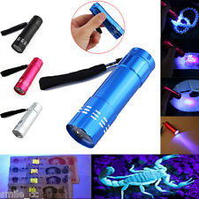 9 LED Mini Aluminum UV Ultra Violet Flashlight Blacklight Torch Light Lamp Black