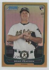 2012 Bowman Chrome Gold Refractor #21 Brad Peacock Oakland Athletics Rookie Card
