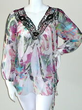 Simply Irresistible Sublimation Crochet Lace Tunic Top Blouse Pink Plus 1X 2X 3X