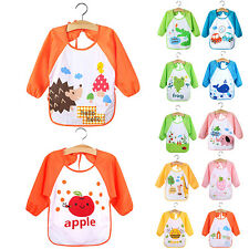 Cute Baby Toddler Long Sleeve Bibs Children Kids Feeding Smock Apron Sturdy