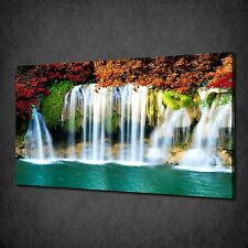 AUTUMN TREES WATERFALL MODERN CANVAS WALL ART PRINT PICTURE READY TO HANG