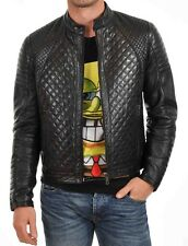 New Men's Genuine Lambskin Leather Jacket Slim fit Biker Motorcycle jacket-MX59