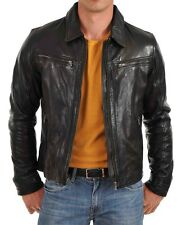 New Men's Genuine Lambskin Leather Jacket Slim fit Biker Motorcycle jacket-MX60
