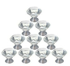 12 PCs Crystal Glass Cabinet Knob Diamond Shape 30mm Drawer Cupboard Handle Pull