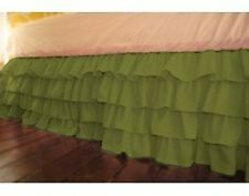 Indolinen-1 QTY Ruffle Bed Skirt/Valance Drop 8 To 20 Inch Moss Solid