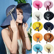Fold Floppy Beach Hat Cap New Lady Wide Brim Summer Sun Women Straw Hat Derby