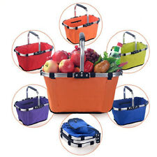 Collapsible Folding Durable Picnic Market Shopping Tote Bag Canvas Basket Holder